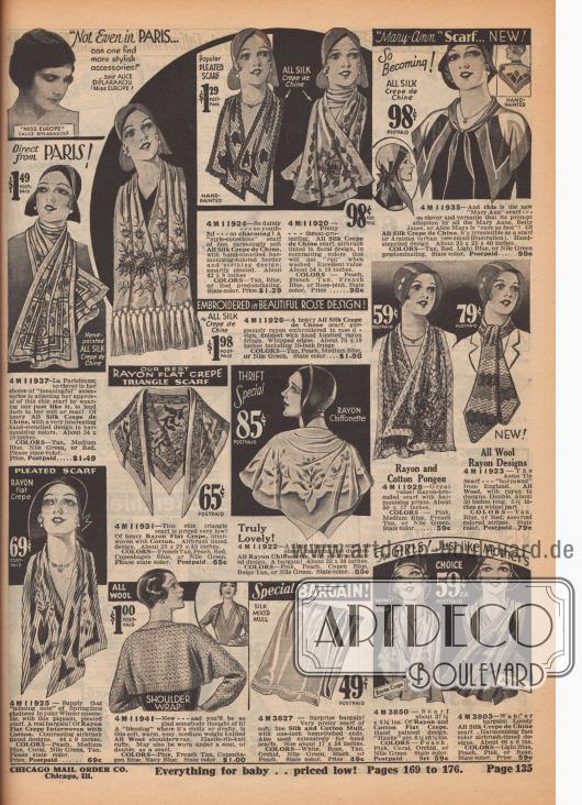 """Schals für Frauen aus Seiden Krepp de Chine, Baumwoll Krepp und Wolle mit Stickereien und Musterungen. Unten zeigt sich ein Schulterjäckchen aus Wolle. Oben rechts wirbt Alice Diplarakou, Miss Europe 1930, für die """"stylischen Accessoires"""" auf dieser Seite."""