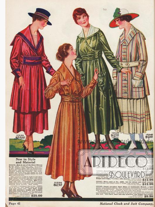 Doppelseite mit herausragenden Kleidern für sportliche Aktivitäten und Straßenkleidung. Kleider aus verschiedenen Seidenmischstoffen.