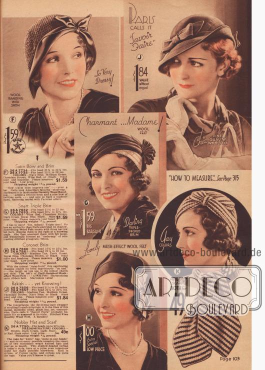 Damenhüte von 49 ¢ bis 1,84 $. Rechts ein Ensemble bestehend aus gestrickter Kappe und Schal.