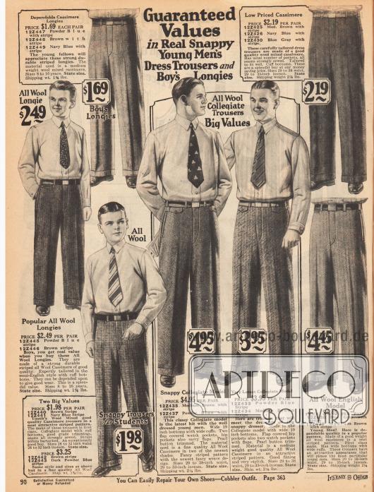 Anzughosen für Männer und 8 bis 16-jährige Jungen für 1,69 bis 4,95 Dollar. Die Bundfaltenhosen sind aus reinen Wollgeweben und Kaschmir-Wolle. Die Stoffe zeigen karierte, diagonale oder Streifenwebung. Die Hosen besitzen Perlmutterknöpfe.