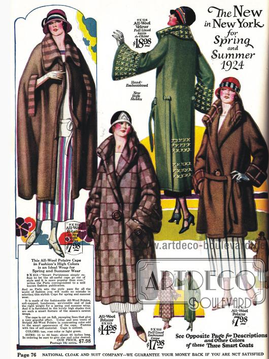 Flauschige Frühjahrsmäntel mit weiten Ärmeln und ein Umhang aus Woll- und Veloursstoffen.