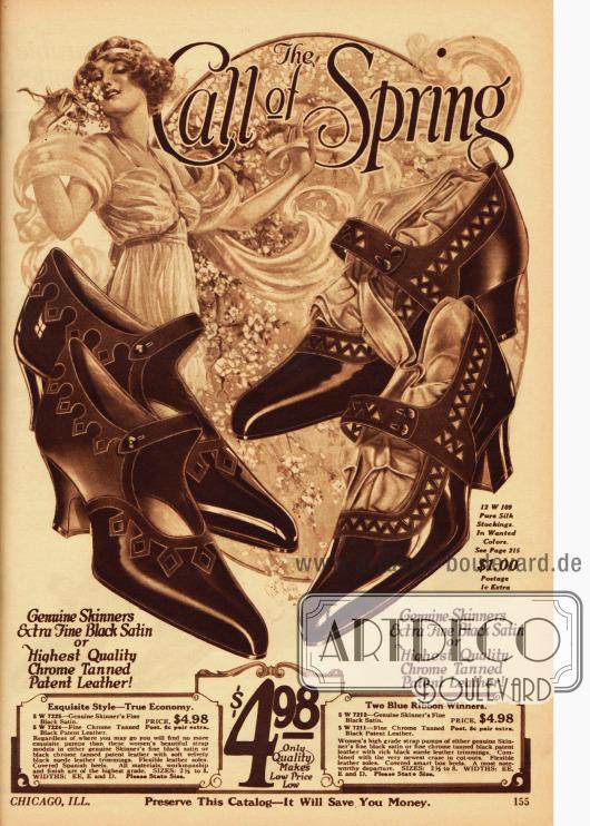 """""""The Call of Spring"""" (dt. """"Der Ruf des Frühlings"""") Zwei Paare der elegantesten und neuesten Damenschuhe wahlweise aus schwarzem Satin oder schwarzem Lackleder für 4,98 Dollar. Die Oberstoffe sind jeweils aus kontrastierenden Zusammenstellungen hergestellt und dekorativ verarbeitet. Eine Schnalle gewährt bei beiden Schuhen einen guten Halt am Fuß. Die Absätze sind mittelhoch."""