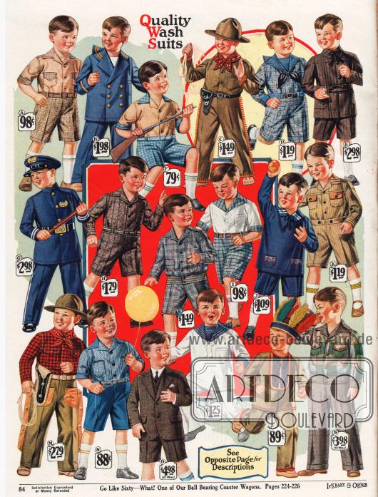 Spielanzüge für 3 bis 9 bzw. 14-jährige Jungen. Unter den Spielanzügen befinden sich Matrosen-, Admirals- und Marineanzüge (B, J, P), Anzüge im Oliver Twist Stil (A, D, F, H, I, K, N), Cowboy- und Indianerkostüme mit Bandana und Pistole oder Federschmuck (C, M, R), ein Eton Anzug (E), ein Lumberjack (Holzfäller) Anzug (L), ein Schulanzug (O), ein Blazer Anzug (S) sowie ein Polizeianzug mit Polizeimütze und Schlagstock (G). Die Jungenanzüge sind hauptsächlich aus leicht waschbaren Baumwollgeweben sowie Baumwoll-Flanell, Khaki, Wolle oder Woll-Kaschmir.