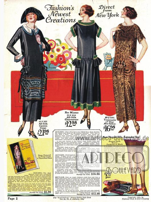 Geradlinige Kleider und ein Stilkleid in der Mitte.Interessanterweise entspricht das erste Modell dem Kleid aus dem Philipsborns Frühjahr/Sommer Katalog des selben Jahres auf Seite 17.