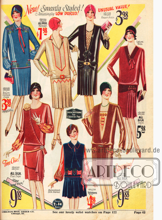 Kleider aus Seide, Samt, Rayon-Satin und Wolle.