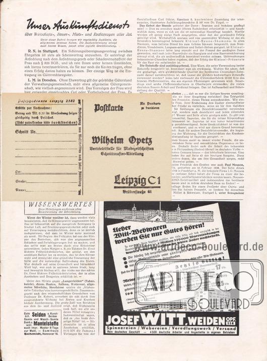 Lose beiliegende Postkarte (Maße: 14,5 x 9,2 cm / 5,71 x 3,62 in) zum Bestellen von Schnittmustern: Die Vorderseite der Postkarte ist adressiert an Herrn Wilhelm Opetz (Vertriebsstelle für Modezeitschriften Schnittmuster-Abteilung), Leipzig C 1, Brüderstraße 61. Die Schnittmuster konnten wahlweise per Nachnahme oder mittels Postscheck (Postscheckkonto Leipzig 2582) bezahlt werden.