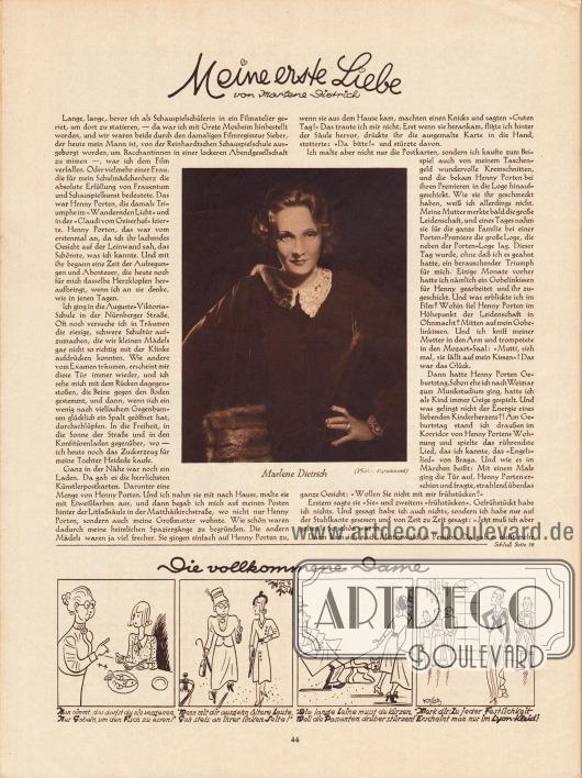 Artikel: Dietrich, Marlene, Meine erste Liebe. Vier Karikaturen: Die vollkommene Dame. Mit einer Fotografie der Filmschauspielerin Marlene Dietrich, 1901-1992. Zeichnungen: Hans Kossatz (1901-1985). Foto: Paramount.