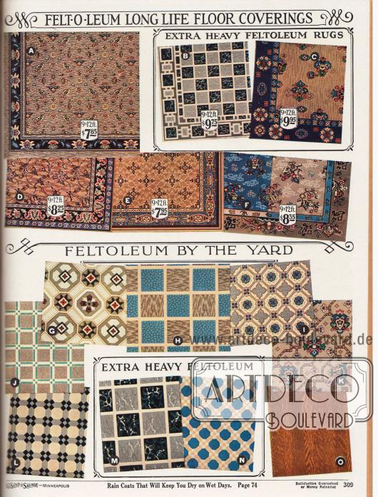 """""""Langlebige Felt-O-Leum [Linoleum] Bodenbelege"""" (engl. """"Felt-O-Leum Long Life Floor Coverings"""").Oben werden farbige Abbildungen für Linoleumteppiche und unten Meterware aus Linoleum gezeigt. Die farbige und bunt gemusterte Meterware in Keramik-, Marmor- oder Holzmusterung ist pflegeleicht und perfekt für Küchenböden und andere Räume im Haus. Die Preise für Meterware verstehen sich pro Yard (91,44 cm)."""