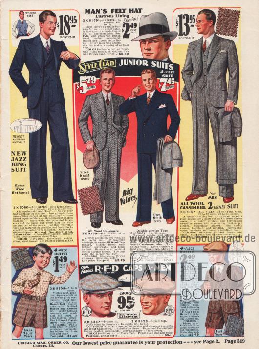 """Herrenanzüge. Links ein """"Jazz King Suit"""" mit neuartigen spitzen Schultern für junge Männer."""
