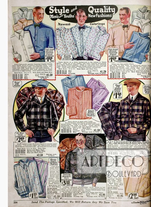 Anzughemden in unterschiedlichen Farben und Mustern aus Seidenmixstoffen, Breitgewebe und Madras mit und ohne Kragen. Auch Sportjacken (Blazers) aus Woll- oder Baumwollflanell für Männer und Jungen sind hier bestellbar.