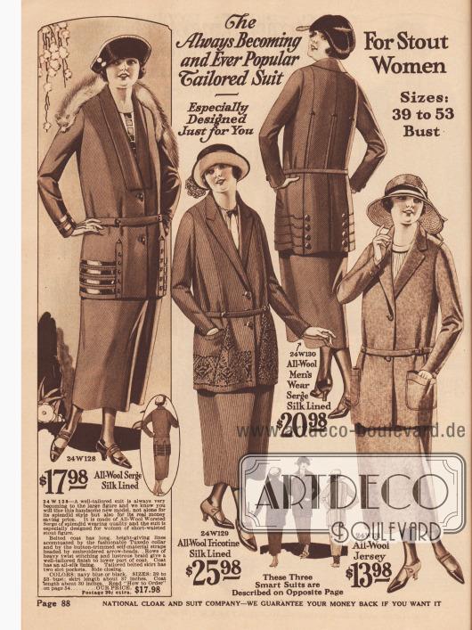 Kostüme für korpulente, aber modebewusste Damen aus Woll-Serge, Woll-Tricotine und Woll-Jersey.