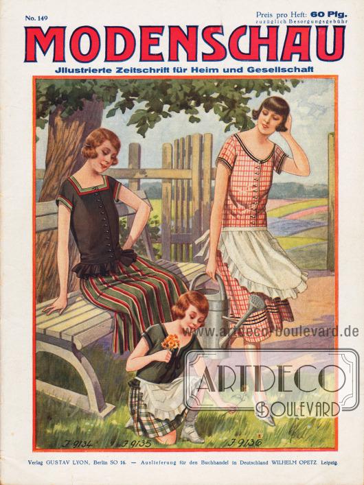Titelseite der deutschen Illustrierten Modenschau Nr. 149 vom Mai 1925.9134: Dirndlkleid aus glattem und gestreiftem Popelin. Der Stoff des Rockes bildet die Blendenumrandung an der Taille.9135: Dirndlkleid für Mädchen von 6 bis 8 und 8 bis 10 Jahren. Es besteht aus Waschstoff. Die glatte Taille liegt dem karierten Rock auf. Samtband an den Rändern. Weiße Batistschürze.9136: Dirndlkleid aus kariertem Kattun mit schwarzem Samtband besetzt. Weiße Batistschürze.