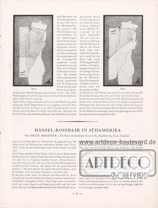 Artikel: O.V., Plastisches Formen. Brehmer, Fritz, Hänsel-Rosshaar in Südamerika. Der obere Artikel wird wie auf der Seite zuvor von zwei Schnittfiguren flankiert.
