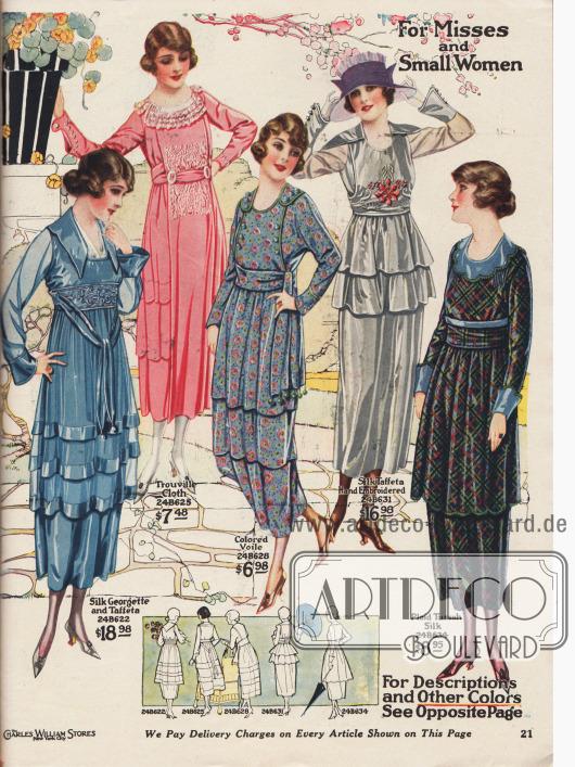Kleider in unterschiedlichen Preislagen in kleinen Konfektionsgrößen für junge Damen und schmal gewachsene Frauen im Alter zwischen 13 und 20 Jahren. Die Kleiderstoffe sind kopenhagenblauer Seiden-Georgette-Taft, Trouville Stoff in Pink (leinenähnlicher Stoff aus Baumwolle), mit Blumen gemusterter Voile (Schleierstoff), grauer Seiden-Taft und karierte Tussah Seide. Charakteristisch für die Mode des Jahres 1919 und die hier gezeigten Modelle sind die etwas kürzeren Überröcke, Tuniken und Volants, die die Hüfte optisch bauschen. Die Kleider in einfarbigen Stoffen sind mit Stickerei im Brustbereich oder an der gürtelartigen Schärpe ausgestattet.