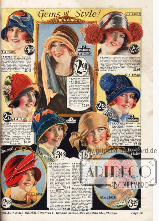 Hüte in herbstlichen Farben&#x3B; ideal für die farbliche Kombination zu einem passenden Kleid oder Mantel. Die Hüte sind bestellbar in 2 verschiedenen Größen: in der Standartgröße und in einer etwas kleineren Größe für Frauen mit Kurzhaarschnitt.