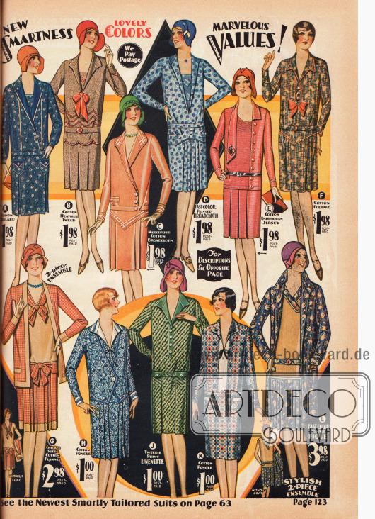 Günstige, einfache Kleider für den Haushalt, den Garten oder zum Einkaufen sowie zwei Ensembles. Gefertigt sind die Kleider aus bedrucktem und gemustertem Baumwoll-Foulard, Baumwoll-Tweed, merzerisiertem Baumwoll-Breitgewebe, Baumwoll-Jersey, kariertem Baumwoll-Flanell, Baumwoll-Pongee, Baumwoll-Leinen und Pikeestoff. Die Preise reichen von einem bis hin zu 2,98 Dollar.