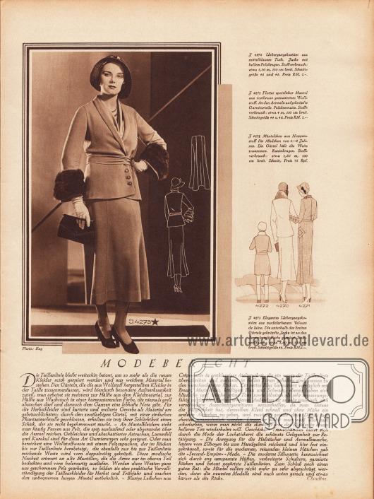 Artikel: Claudine, Modebericht.  4273: Elegantes Übergangskostüm aus modefarbenem Velours de laine. Die unterhalb des breiten Gürtels geknöpfte Jacke ist an den Ärmeln mit Fuchs garniert. Foto: Ifag.