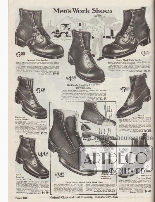"""""""Arbeitsschuhe für Männer"""" (engl. """"Men's Work Shoes""""). Schwere Arbeitsschuhe aus Elchs- oder Wildleder, Känguruleder oder Spaltleder im Stil von Armee-Schuhen sowie zwei Straßenschuhe (Modelle """"Balmoral Lace Shoe"""" und """"Moulder's Congress Shoe"""") unten rechts für Herren. Die hochgeschnittenen Arbeitsschuhe besitzen verstärkte Nähte, Lochlinienperforationen oder zeigen eine glatt verarbeitete Kappe. Meiste Modelle mit Derbyschaftschnitt; in den USA fälschlich als """"Blucher"""" bezeichnet. Unten in der Mitte wird ein Arbeitsschuh aus braunem Kanevas mit massiver Gummisohle und ausführlicher Aufbau-Illustration offeriert."""