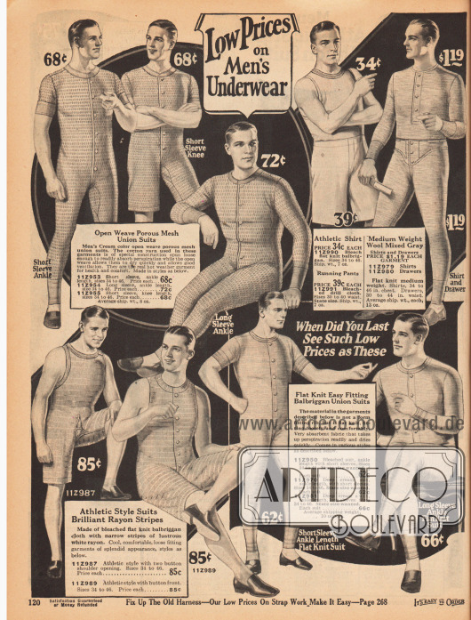 """""""Niedrige Preise für Männer Unterwäsche"""" (engl. """"Low Prices on Men's Underwear""""). Einteilige Hemdhosen mit Knopfleiste in der Front aus leichten Materialien wie Baumwollgeweben, """"balbriggan cloth"""" (gewebtes, ungebleichtes Baumwollgewebe, ursprünglich aus Irland) oder Rayon in luftdurchlässiger Maschenwebung, Flachwebung oder in fein gewebtem Streifenmuster, das durchzogen ist von leicht glänzenden Rayonfäden. Die Hemdhosen hier haben wahlweise lange oder kurze Ärmel oder sind armfrei. Einige Modelle besitzen kurze Beine. Oben rechts befinden sich auch eine zweiteilige Hemdhose sowie Sportunterwäsche bestehend aus ärmellosem Hemd und kurzer Sporthose."""