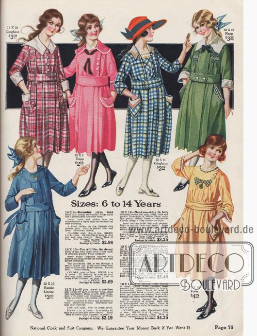 Mädchenkleider für 6 bis 14-jährige. Den Kleidchen sind große Taschen und Kragen aufgearbeitet. Charakteristisch sind breite Gürtel und kürzere Rocksäume als bei den Kleidern für Erwachsene. Die Kleider sind aus beständigen Stoffen wie Gingham, Rips, Leinen und Voilestoff.