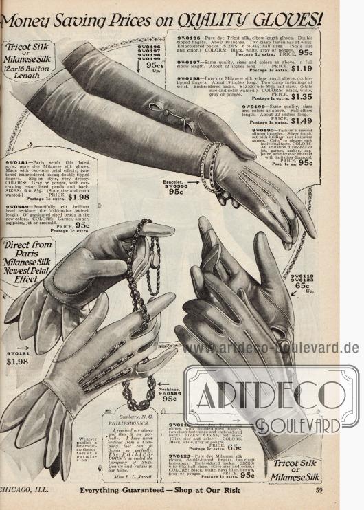 Damenhandschuhe aus Mailänder Seide, entweder kurz mit Knöpfverschluss (unten rechts), mit blütenartigem Effekt (unten links) oder als lange Abendhandschuhe (oben). Überdies wird hier auch noch Modeschmuck angeboten.