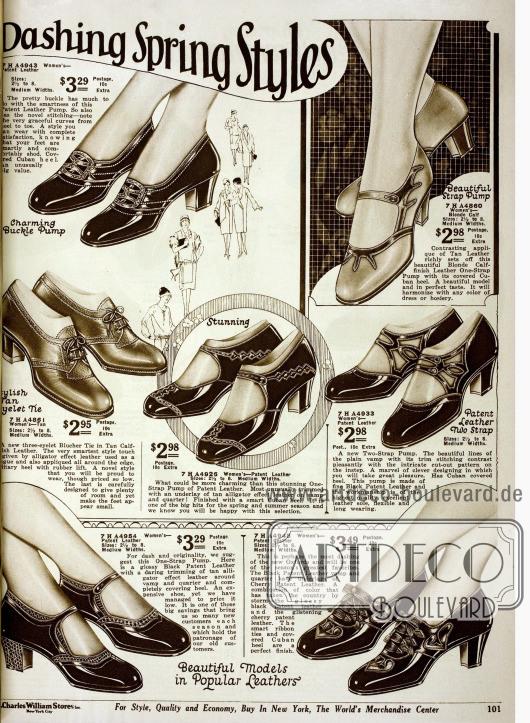 """""""Attraktive Footwear Models – Dashing Spring Styles"""". Doppelseite mit niedrigen kubanischen Absätzen aus Lackleder und Ziegenleder. Ziernähte, Perforationen, Metallschnallen, Lederriemchen und Schuhe aus zweifarbigem Leder geben Variation."""