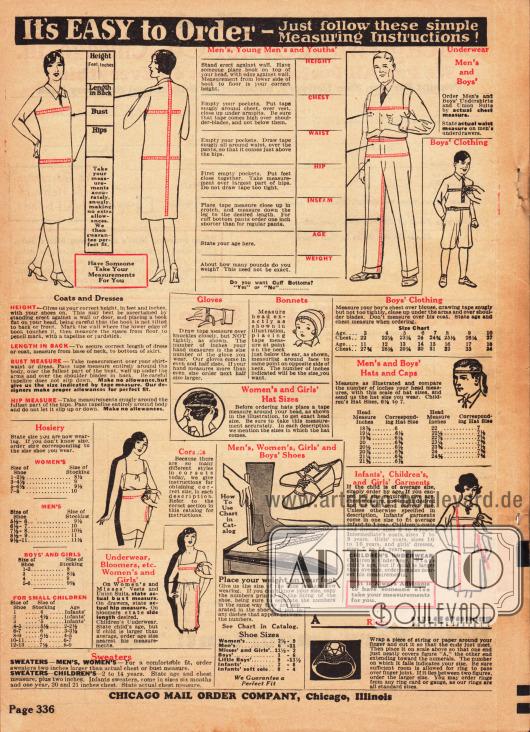 Rückseite des Bestellscheins mit Maßanleitungen für Kleider, Anzüge, Hüte, Schuhe, Handschuhe, Unterwäsche und auch Ringe.