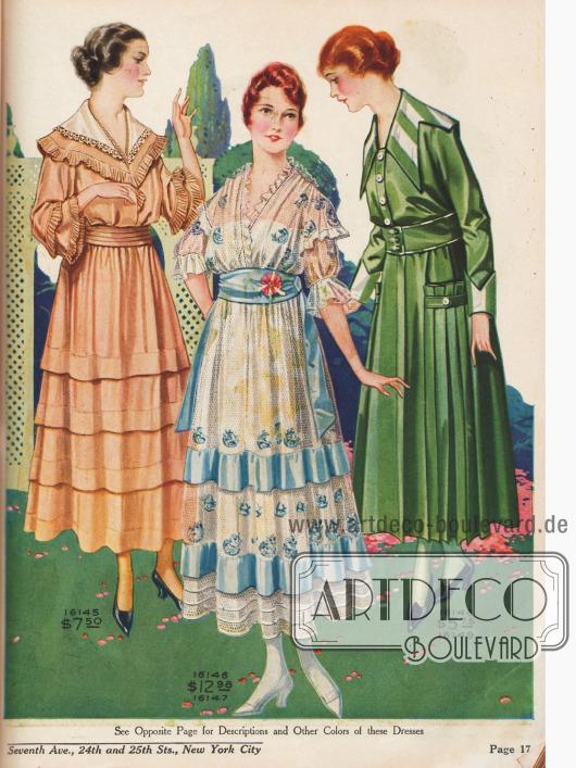 Kleider aus Voile, besticktem Netzstoff und Leinen.