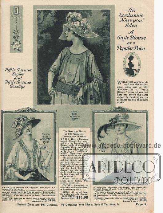 """""""Eine exklusive 'National' Idee. Eine modische Bluse zum breitenwirksamen Preis"""" und """"Fifth Avenue Mode und Fifth Avenue Qualität"""" (engl. """"An Exclusive 'National' Idea. A Style Blouse at a Popular Price"""" und """"Fifth Avenue Styles and Fifth Avenue Quality""""). Kleidsame Damenblusen aus Seiden-Georgette Krepp. Bänder aus Stickerei, Taschentuch-Ärmel, Wollstickerei, Kimono-Ärmel oder Hohlsaumnähte sind die modischen Details. Halblange bis lange Ärmel. Zwei Modelle ohne, eines mit Kragen."""