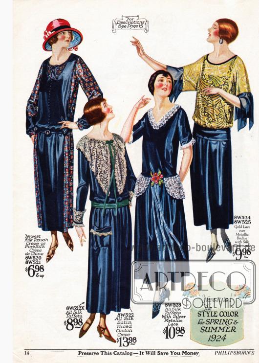 Vier Damenkleider aus Tussahseiden Krepp oder Seiden Crêpe de Chine, Seiden-Taft oder Seiden-Satin, Seiden-Taft und Seiden-Charmeuse. Das erste Kleid ist aus zwei kontrastierenden Materialien hergestellt und zeigt die sehr tiefe Taillierung. Die beiden folgenden Modelle zeigen großzügige Spitzengarnituren aus silber-metallischer Spitze an Ärmeln, Taille und Ausschnitt. Das letzte Kleid besteht aus einem durchgehenden Unterkleid und einer Bluse aus goldfarbener Spitze im Kimonostil.