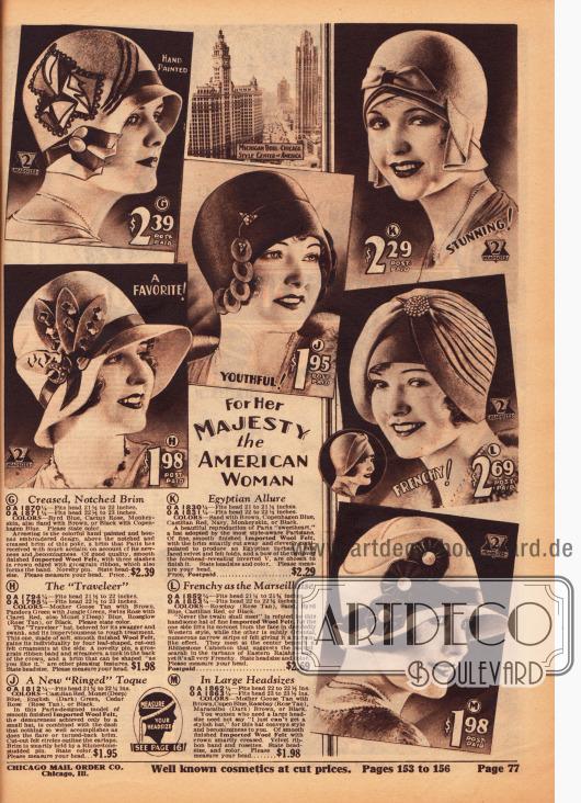 Französische Damenhüte für die kultivierte Amerikanerin aus Wollfilz. Stickereien, Ornamente und Applikationen aus Wollfilz, Ziernähte, Ripsbänder, Hutnadeln und Broschen aus Metall geben jedem Hut einen eigenen, besonderen Charakter.