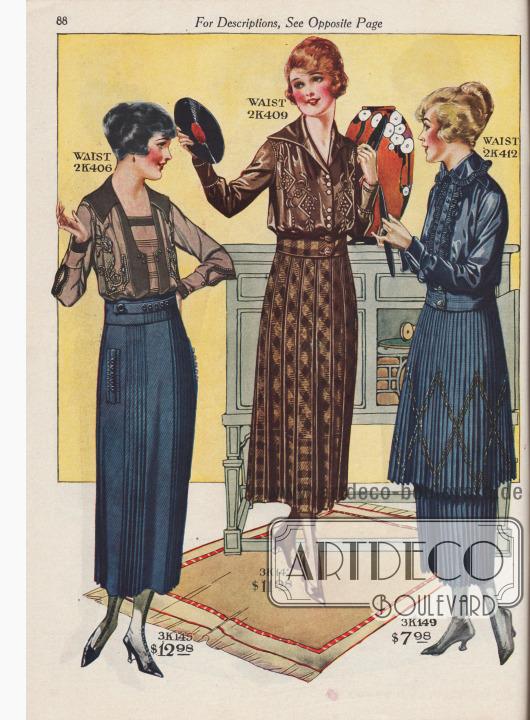 Röcke zu Preisen von 7,98 bis 12,98 Dollar mit passenden Blusen für 4,98 bis 7,98 Dollar. 2K406 / 2K407 / 2K408: Kleidsame Bluse, wahlweise bestellbar aus maulwurfsgrauem, marineblauem oder lila Georgette Krepp, mit von Hand ausgeführter Stickerei und aufgestickten Stahlperlen. Blusenfront mit Biesen und vertikalen Blenden. 3K145 / 3K146: Rock aus Woll-Serge, bestellbar in Marineblau oder Schwarz. Modell mit oben abgenähten Faltengruppen, Taschen, Knöpfen und Haarbiesen. 2K409 / 2K410 / 2K411: Bluse aus braunem, marineblauem oder rosa Seiden-Crêpe de Chine. Bluse mit Seidenstickerei in gleicher Farbe sowie Perlknöpfe. 3K147 / 3K148: Rock aus braun- oder blau-kariertem Woll-Polo-Velours. Das Modell ist rundum mit Kellerfalten gearbeitet. Abnehmbarer Gürtel mit Knöpfen. 2K412 / 2K413: Chiffon-Taft-Bluse in Marineblau oder Schwarz. Plissierte Rüschen an Kragen und Knopfblende harmonieren mit dem gezeigten Rock. Knöpfe aus Gagat. 3K149: Marineblauer Tunika-Rock aus Woll-Panama-Gewebe, rundum plissiert in Messerfalten und mit kreuz und quer verlaufender Seidenstickerei.