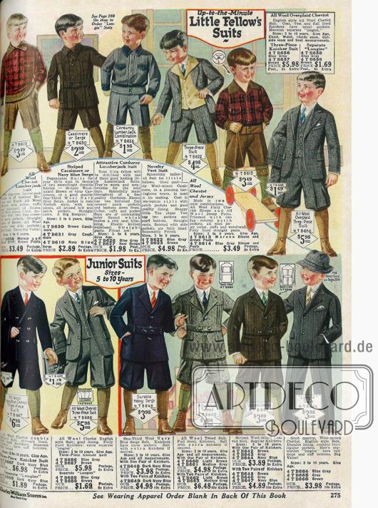 """Kleidung für Jungen von 5 bis 10 Jahren. Oben befinden sich die Anzüge für """"little fellow's"""" (kleine Burschen), während unten die Anzüge für die größeren Jungs gezeigt werden."""