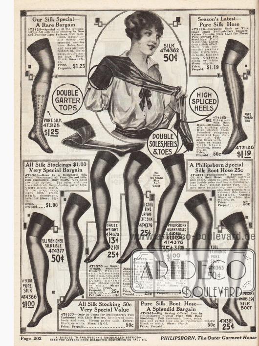 Damenstrümpfe aus reinen Seiden mit verstärkten Fersen und Füßen. Die beiden Modelle oben sind zusätzlich mit effektvollen Stickereien verziert. Die Preise rangieren zwischen 25 ¢ und 1,25 Dollar pro Paar. Bei der Bestellung von zwei oder drei Paaren sinkt der Einzelpreis auf bis zu 13 ¢ das Paar.