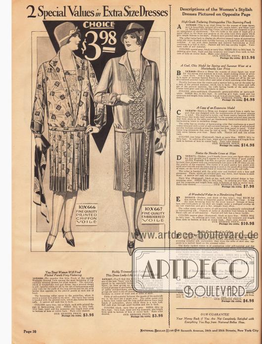 Zwei Kleider für stärker gebaute Damen aus bedrucktem Chiffon-Schleierstoff und fein besticktem Schleierstoff. Beide Modelle kosten jeweils 3,98 Dollar.An der rechten Seite befinden sich die Erklärungen für die folgende Seite 31.