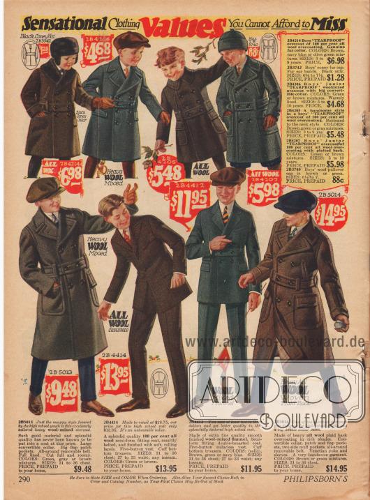 Mäntel aus Wollstoffen für Jungen bis 10 Jahre. Unten befinden sich Mäntel für ältere Jungs aus derben Wollstoffen und Anzüge aus reiner Wolle und Woll-Flanell.