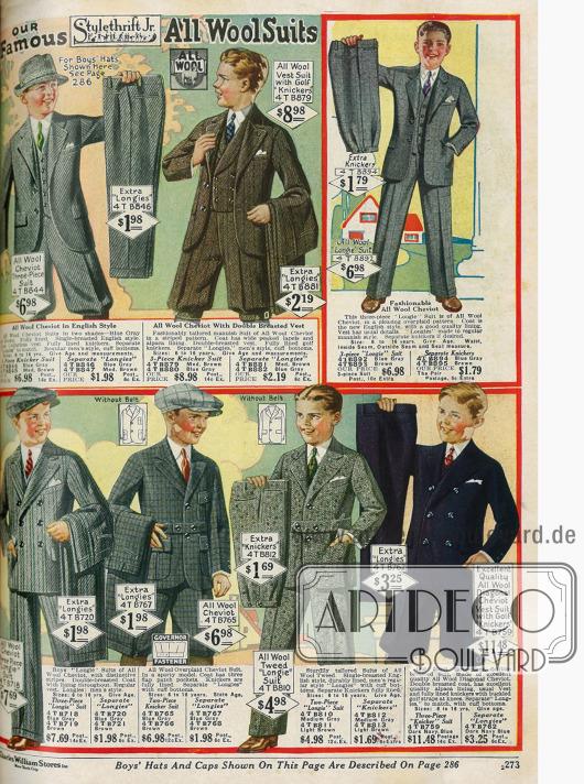 Anzüge aus reinen Wollstoffen für Jungen von 6 bis 16 Jahren. Die Anzüge bestehen aus Sakko (2 Modelle mit Taillengürtel), Weste und kurzer oder wahlweise langer Hose.