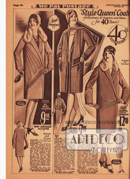 Drei Damenmäntel für das Frühjahr aus Woll-Kasha, Woll-Tweed und Woll-Velour-Breitgewebe. Die Sommerpelze des Mufflons (Wildschaf) und des Kaninchens sind an den Kragen der äußeren beiden Modelle zu finden. Beim ersten Mantel gehen strahlenförmig von der rechten Achselhöhle Biesen aus, die im Schoß durch diagonale Biesen begrenzt werden. Der Sportmantel in der Mitte präsentiert aufgesetzte, dekorative Taschen und einen Schal aus dem Material des Mantels. Der dritte Mantel zeigt ebenfalls strahlenförmige Biesen wie der erste Mantel. Die hohen Ärmelstulpen sind zudem mit Biesen verschönt und mit Zierknöpfen versehen.