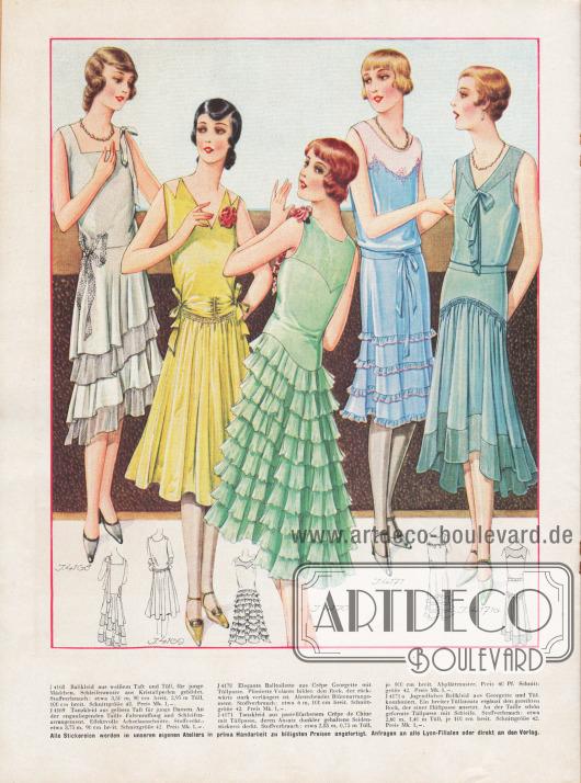 4168: Ballkleid aus weißem Taft und Tüll, für junge Mädchen. Schleifenmotiv aus Kristallperlen gebildet. 4169: Tanzkleid aus gelbem Taft für junge Damen. An der enganliegenden Taille Faltenraffung und Schleifenarrangement. Effektvolle Achselausschnitte. 4170: Elegante Balltoilette aus Crêpe Georgette mit Tüllpasse. Plissierte Volants bilden den Rock, der rückwärts stark verlängert ist. Abstechendes Blütenarrangement. 4171: Tanzkleid aus pastellfarbenem Crêpe de Chine mit Tüllpasse, deren Ansatz dunkler gehaltene Seidenstickerei deckt. 4171a: Jugendliches Ballkleid aus Georgette und Tüll kombiniert. Ein breiter Tüllansatz ergänzt den gereihten Rock, der einer Hüftpasse ansetzt. An der Taille schön geformte Tüllpasse mit Schleife.