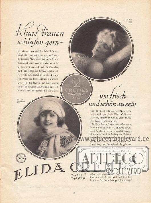 Werbung: Elida Cremes. Modell: Iris Arlan; Fotos: Atelier Ernst Schneider, Berlin.