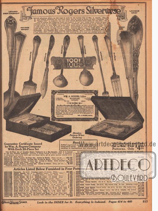 """""""Die berühmten Rogers Silberbestecke"""" (engl. """"Famous Rogers Silverware""""). Seite mit Beschädigung oben rechts (ca. 3 cm² fehlen). Elegant gearbeitetes und kunstvoll ornamentales Tafelsilber der Marke Rogers 1881 (1929 von Oneida Community Company gekauft). Die Bestecke können 26-teilig für 8,75 Dollar oder 12-teilig für 4,89 Dollar geordert werden. Einzeln können auch folgende Besteckteile hinzubestellt werden: Teelöffel, Nachtischlöffel, Tafellöffel, Tischmesser, Dessertmesser, Tischgabeln, Nachtischgabeln, lange Eisteelöffel, Suppenkellen, Saucenkellen, Sahnekellen, Löffel für Beeren, Buttermesser, Zuckerdosen, Gabeln für Aufschnitt, Gurkengabeln, Salatbesteck, Tortenheber, Kinderbesteck, Kuchen- und Tortenbesteck, Früchtemesser, Orangenlöffel, Austerngabeln, Suppenlöffel, Boullionlöffel sowie ein achtteiliges Set aus 6 Teelöffeln, einem Zuckerlöffel und einem Buttermesser."""