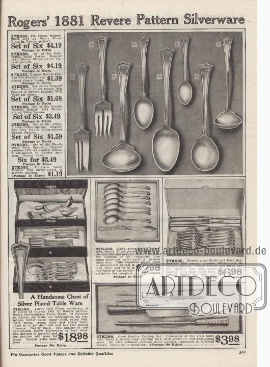 """""""Rogers 1881 Silberbesteck mit Revere-Muster"""" (engl. """"Rogers' 1881 Revere Pattern Silverware""""). Tafelbestecke, Tischbestecke, Kuchenbestecke und ein Tranchierbesteck aus fein aber dezent graviertem Silber oder versilbertem Metall der US-Marke Rogers 1881. Bestandteile der Bestecke sind Kuchengabeln, Salatgabeln, Soßenlöffel bzw. Schöpfkellen, Teelöffel, Tafellöffel, Kaffeelöffel, Suppenlöffel, Sahnekellen und Buttermesser. Die Bestecke werden in Boxen bzw. Schachteln oder in einem Eichenholztruhe geliefert. Das Tranchier-Set aus Stahl besteht aus einem Tranchiermesser, einer Tranchiergabel mit Stütze und einem Wetzstahl zum Schärfen. Griffe aus hochglänzendem Sterlingsilber."""