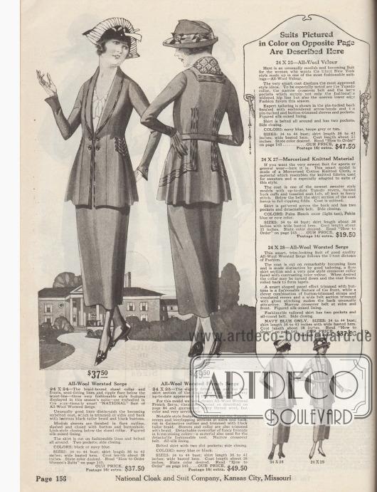 """Zwei Kostüme der oberen Preiskategorie aus gekämmter Woll-Serge oder französischer Kamm-Wolle für 37,50 bzw. 49,50 Dollar. Die stark taillierte Jacke des ersten Kostüms zeigt einen bis zur Taille durchgehenden Schalkragen, dessen Rand mit schwarzer Borte bis zum Schoß eingefasst ist. Tressen und schwarze Knöpfe zieren die Seiten. Glockig und abstehend gearbeiteter Schoß sowie glockige Ärmelaufschläge. Tressen zieren auch Rücken und Seiten des zweiten Damenkostüms sowie den aufliegenden Kragen. Der abnehmbare Überkragen besteht aus bunt gemustertem Brokat, der auch für die Weste verwendet wurde. Kostümjacke mit tief geführtem """"Tuxedo revers"""" (Smokingkragen)."""