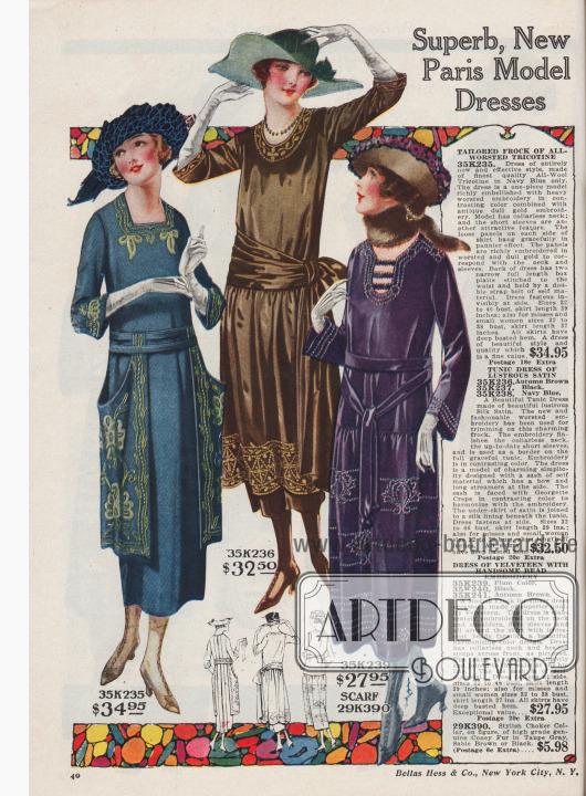 Doppelseite mit feinsten Damenkleidern aus Tricotine, Satin, Samt und Woll-Serge für 27,95 bis 34,95 Dollar.
