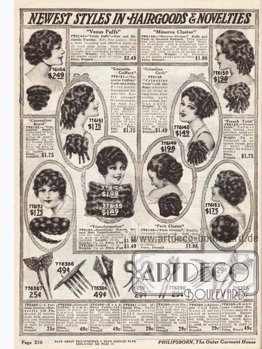 Großzügige Haarteile und Haarknoten mit Löckchen zum Anreichern des Eigenhaars. Steinchenbesetzte Haarnadeln und dekorative Haarkämme in verschiedenen Stilen, die zum Verschönern der Frisur dienen, befinden sich im unteren Bildteil.