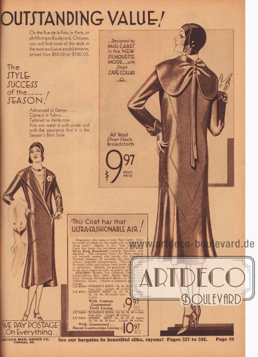 """""""Außergewöhnlicher Wert! Auf der Rue de la Paix in Paris oder auf dem Michigan Boulevard in Chicago finden Sie Mäntel dieses Stils in den exklusivsten Boutiquen zum Preis von 50,- bis 100,- Dollar"""" (engl. """"Outstanding Value! On the Rue de la Paix, in Paris, or on Michigan Boulevard, Chicago, you will find coats of this style in the most exclusive establishments, priced from $50.00 to $100.00""""). 2 C 4520/21: Eleganter Frühjahrs- und Sommermantel in der neuen Modelinie aus silbergeflecktem Woll-Breitgewebe zum Preis von 9,97 Dollar mit Futterstoff in Körperbindung oder für 10,97 Dollar mit glänzendem Rayon-Krepp Futter für Damen und junge Frauen. Mantel mit paspelierten Seiten und Rücken. Unterhalb der Paspeln ist der Saum glockig angesetzt. Schulterbreiter Schmetterlings-Kragen, der im Rücken mit Knöpfen und langen Bändern gerafft und verschönt ist."""