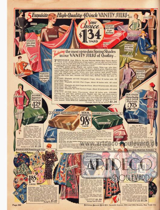 Feinste unifarbene und bedruckte Seidenstoffe für schicke Kleider und Blusen. Die Stoffe sind Seiden Krepp, Seiden-Georgette Krepp, Seiden-Charmeuse, Seiden Crêpe de Chine, Seiden Canton Krepp, Seiden-Shantung, Seiden-Satin-Messaline und Seiden-Chiffon-Taft. Die Preise rangieren zwischen 98 Cent und 2,75 Dollar pro Yard (91,44 cm).