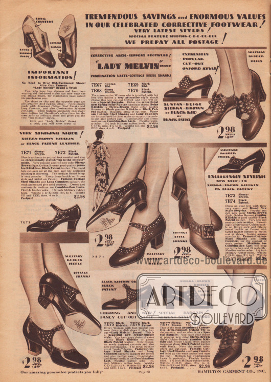 """""""Gewaltige Ersparnisse und enorme Werte in unseren gefeierten orthopädischen Schuhen! Neueste Schuhmodelle! Besondere Schuhbreiten C, D, E, EE, EEE. Wir zahlen das Porto!"""" (engl. """"Tremendous Savings and Enormous Values in Our Celebrated Corrective Footwear! Very Latest Styles! Special Feature Widths-C-D-E-EE-EEE. We Prepay All Postage!""""). Elegante Schnallenschuhe und Pumps aus Lackleder oder Chevreauleder (Ziegenleder) für Damen, die Schuhe mit besonderer breite sowie eine spezielle Stützung des Fußgewölbes benötigen. Die Paare zeigen kunstvolle Ausstanzungen, kleine Schleifen oder Metallbroschen (""""Kolonialpump""""). Modelle mit mittelhohen kubanischen Absätzen."""