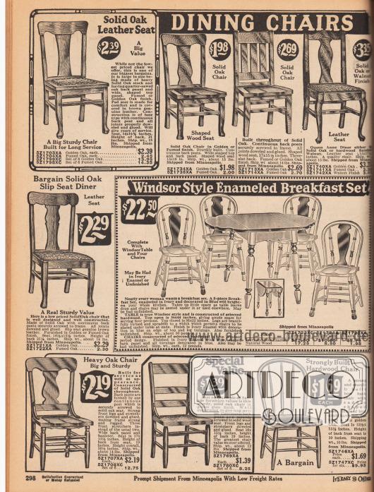 """""""Esszimmerstühle"""" (engl. """"Dining Chairs""""). Gepolsterte und ungepolsterte Stühle aus Hartholz und Eiche in verschiedenen Stilen. In der Mitte wird ein faltbarer und ausklappbarer Frühstückstisch für die Küche mit vier passenden Stühlen im """"Windsor Stil"""" angeboten. Tisch und Stühle sind elfenbeinfarben lackiert und können auch separat bestellt werden."""