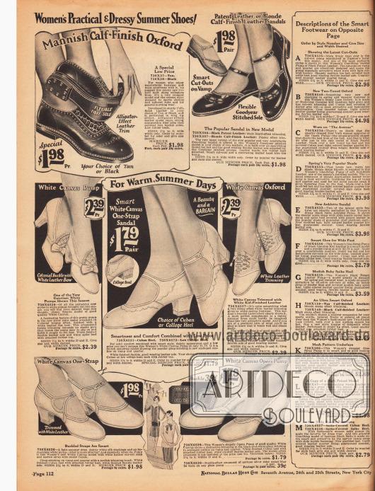 Sommerschuhe, wie Schnallenschuhe, Oxfords und Kolonialpumps aus Canvas für heiße Tage, Sportschuhe mit flachem Absatz aus Rindsleder (oben links) und Sandalenschuhe aus Lackleder oder Kalbsleder mit flachen Absätzen (oben rechts).Auf der rechten Bildseite befinden sich die Erklärungen für die Damenschuhe auf der folgenden Seite 113.